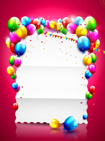 Birthday template with flying balloons and empty paper on red background Vector
