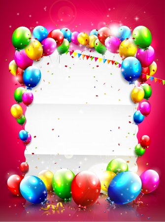 Plantilla de cumpleaños con globos voladores y papel vacío sobre fondo rojo
