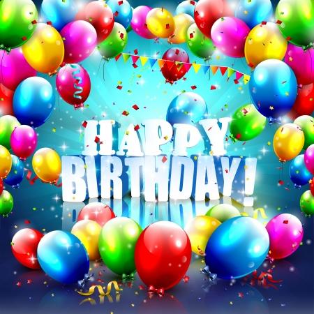Buon compleanno - manifesto colorato con palloncini volanti