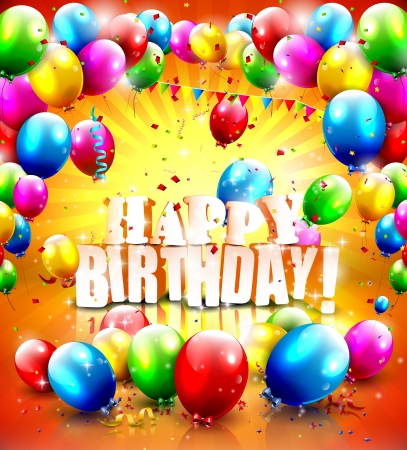 Happy birthday  - colorful poster with flying balloons Vector