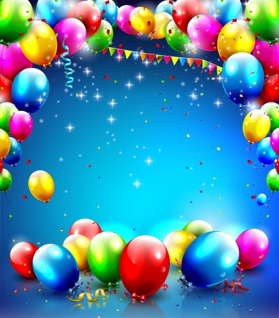 Birthday template with balloons and confetti on blue background