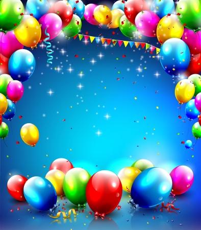 globos de cumpleaños: Plantilla de cumpleaños con globos y confeti sobre fondo azul