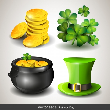 Set of four St  Patrick s Day icons Illustration