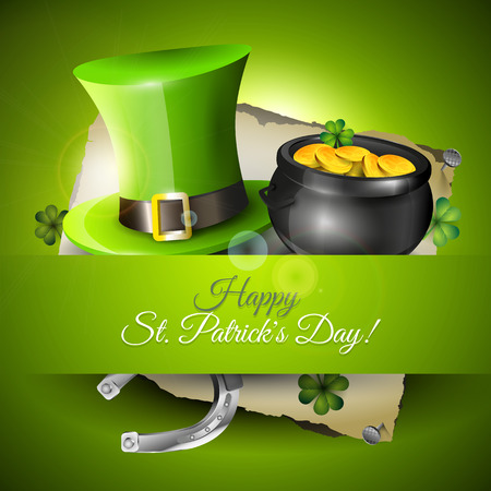 lucky day: St  Patrick s Day greeting card Illustration