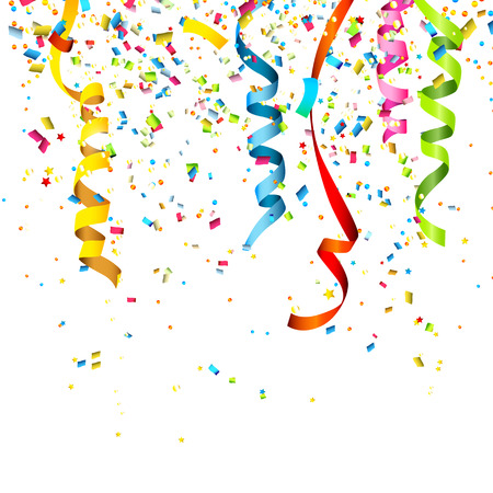 party streamers: Colorful confetti isolated on white background