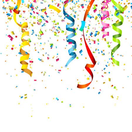 streamers: Papel picado de colores aislados sobre fondo blanco