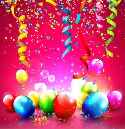 streamers: Birthday background with colorful balloons and confetti