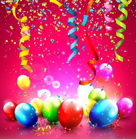 serpentinas: Fondo de cumpleaños con globos de colores y confeti Vectores