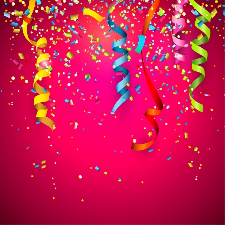 birthday party: Colorful confetti on red background Illustration