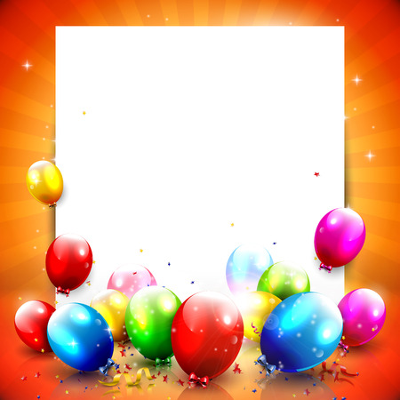 Colorful birthday background with empty paper and balloons   Vector