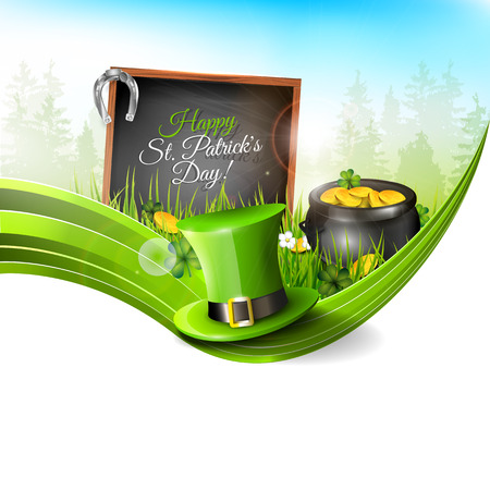 St Patricks Day - background with green hat and old pot with coinsin grass - greeting card with copyspace   Vector