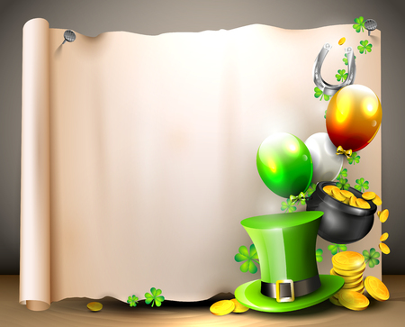 St Patrick's Day - background with old paper with place for text Stock Vector - 25882549