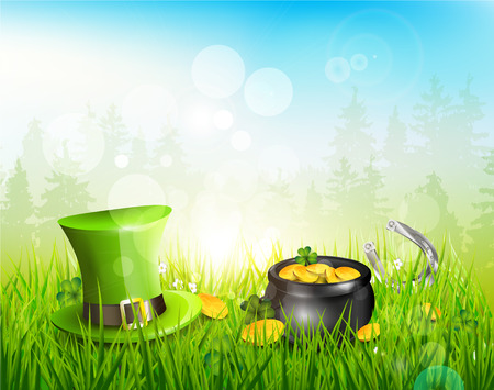 Hat and pot with coins in the grass - St. Patricks Day background Vector