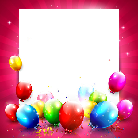 Colorful birthday background with empty paper nad balloons   Vector