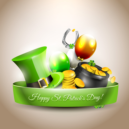 St Patricks Day - icon with hat, gold coins in the pot and balloons in the colors of the Irish flag Vector