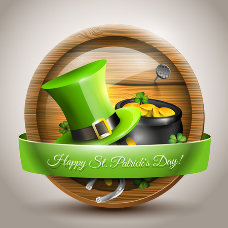 St Patricks Day - icon with green hat and pot with coins in front of the beer barrel Vector