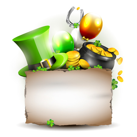 St Patricks Day - background with old paper with place for text Vector