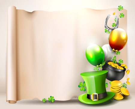 St Patrick's Day - background with old paper with place for text Vector