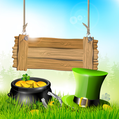 St. Patricks Day - background with wooden sign, hat and pot of gold in grass   Vector