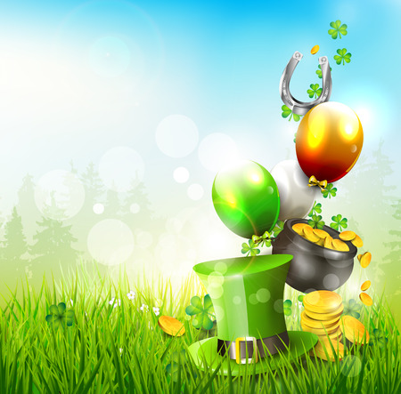lucky clover: Hat and pot of coins in the grass - St. Patricks Day background
