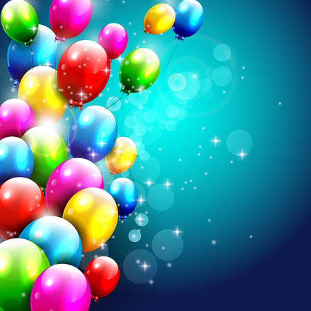 balloon background: Birthday background with flying colorful balloons and with place for text Illustration