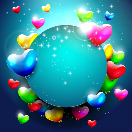 Background with colorful hearts and place for text     Vector
