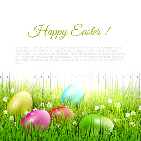 Easter eggs lying in the grass - Easter illustration with place for text Stock Vector - 25882568