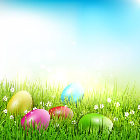 lying in: Easter eggs lying in the grass - Easter illustration