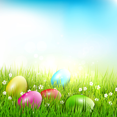 Easter eggs lying in the grass - Easter illustration Stock Vector - 25882569