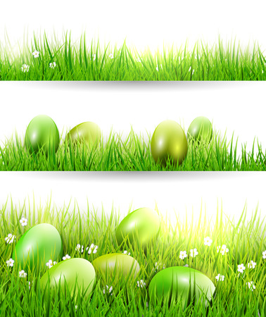 Set of three Easter borders with green eggs in grass Vector