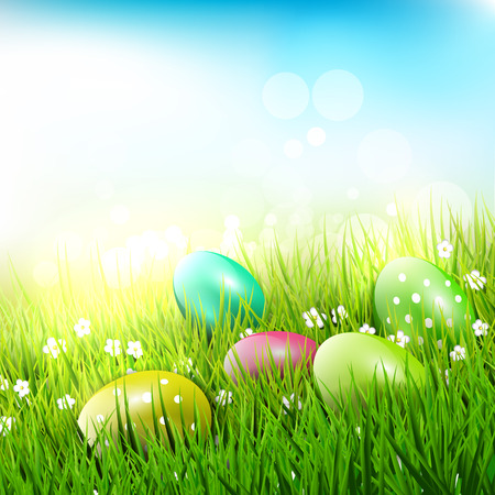 easter background: Sweet Easter eggs in the grass - Easter illustration
