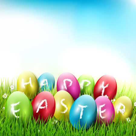 lying in: Happy Easter - colorful eggs lying in the grass   Illustration