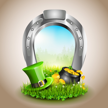 St. Patricks Day - Window created from horsehoe   Vector