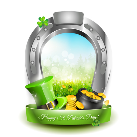 St. Patricks Day - Window created from horsehoe on white background Vector
