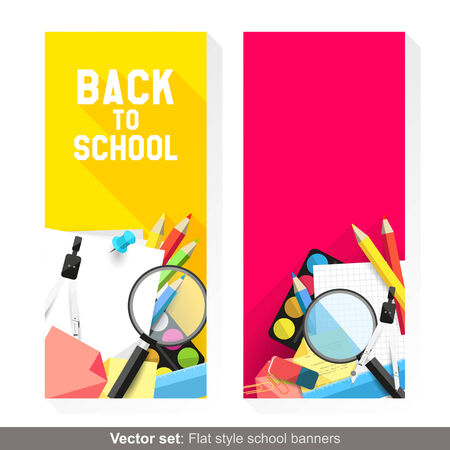 Back to school - Vector set of flat banners with school supplies   Vector