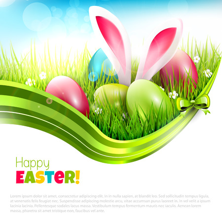 sticking: Easter greeting card with eggs and rabbit ears sticking out of the grass - vector illustration with place fort ext Illustration