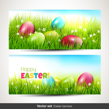 Set of two horizontal Easter banners with eggs in grass Vector