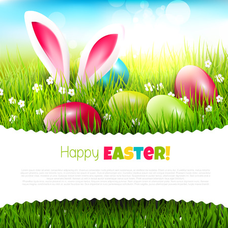 Easter greeting card with eggs and rabbit ears sticking out of the grass - vector illustration with place fort ext Ilustração