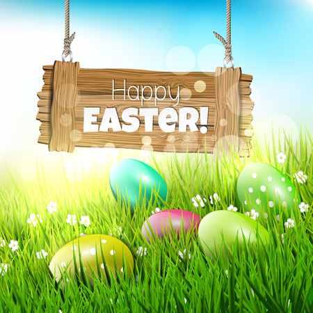 Easter greeting card with wooden sign and colorful eggs in grass - vector illustration Vector
