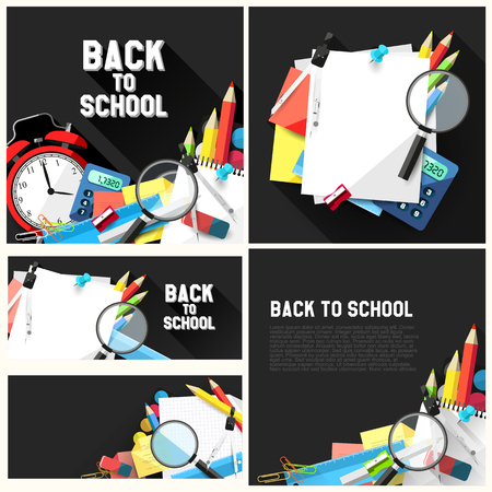 Vector set of flat design school backgrounds with school supplies and place for text   Vector