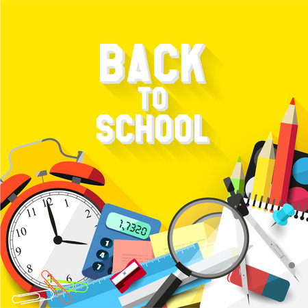 Back to school - school supplies on orange background - Vector flat design illustration  Vector