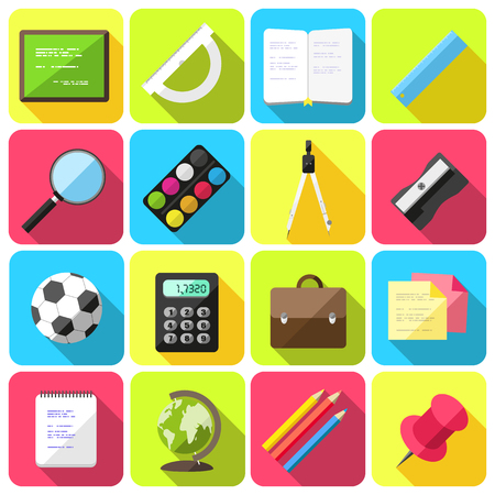 Vector set of flat style icons with school supplies Vector