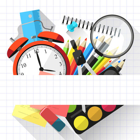 Flat school background with school supplies and place for text Vector