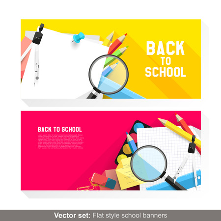 Back to school - Vector set of flat banners with school supplies Stock Vector - 26134429