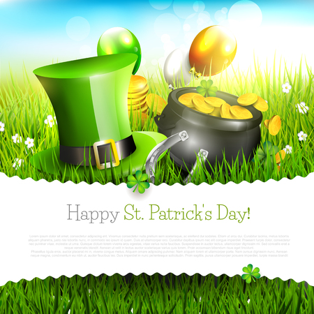 irish landscape: St. Patricks Day greeting card with place for your text   Illustration