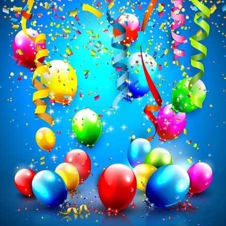 Modern Birthday greeting card with confetti and balloons   Vector