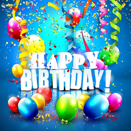 Birthday background with colorful confetti and balloons on blue background Vector