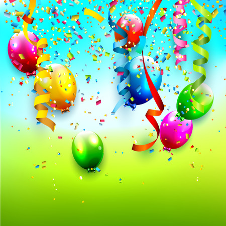 Birthday background with colorful confetti and balloons   Vector