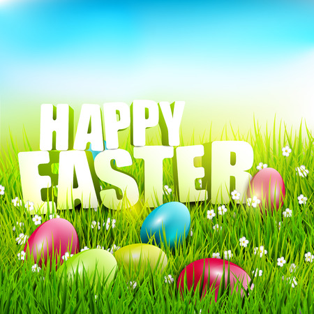 Easter background with 'Happy Easter'  inscription in the grass  Vector
