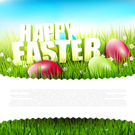 easter sign: Easter background with Happy Easter sign in the grass and with place for text